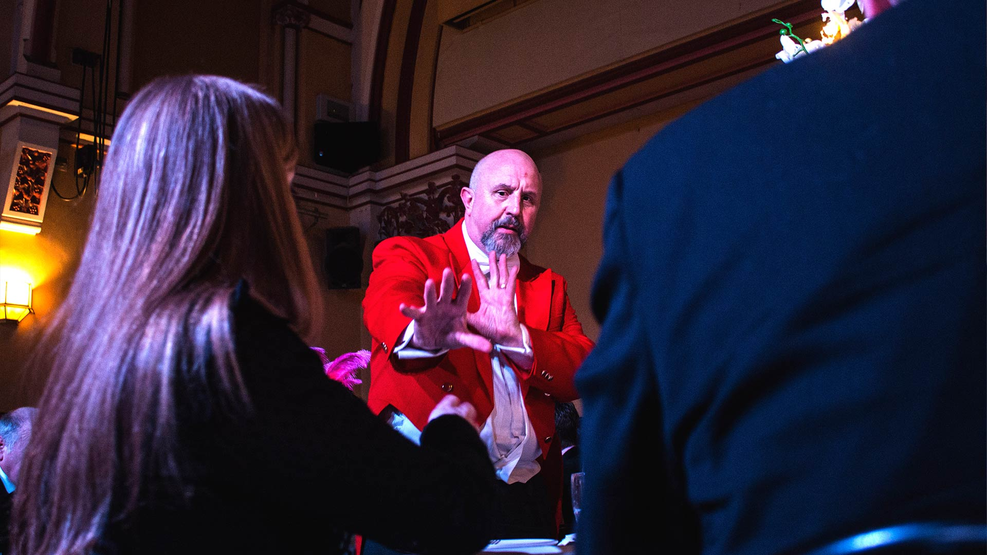 The Great Baldini, Bath Magician, delights and entertains guests.